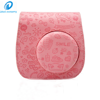 Cute Cartoon Mocmoc Style Leather Case Bag for Fujifilm Fuji Instax Mini8 Case with Shoulder Strap Pink Color