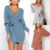 New Autumn Winter Backless  Women Cross V-neck knitted Warm Dresses Sexy Bodycon Slim Sweater Dress