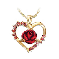 New style Fashion Red Rose Gold Plating Chain CZ Heart Rose Necklace For Women Jewelry Gifts