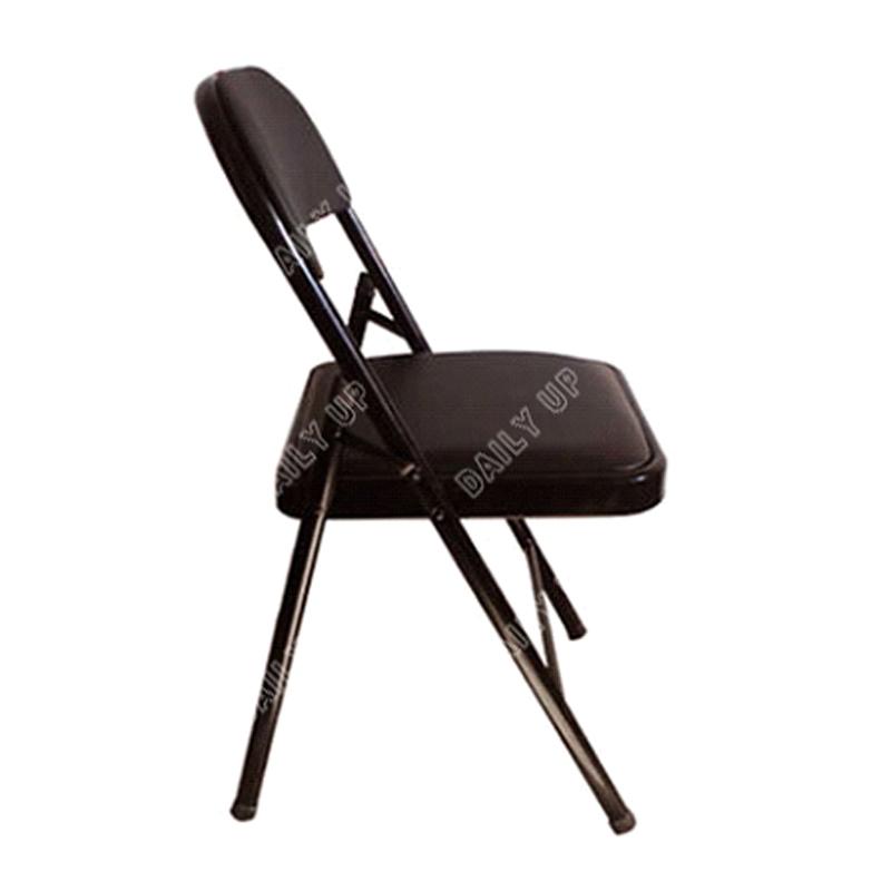 Black Pu Padded Folding Chair Leisure