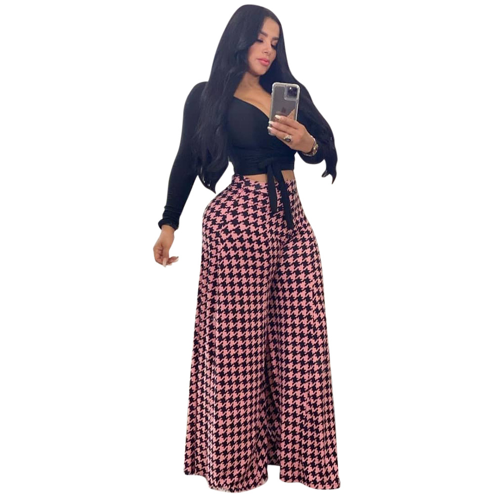 2020 Nuevas Llegadas Moda Mujer Alta Sueltos Cintura Elastico A Cuadros Pantalones De Pierna Ancha Buy 2020 Recien Llegados Pantalones De Pierna Ancha De Cuadros Elasticos De Cintura Alta Sueltos Para