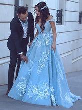 Женское вечернее платье со смайликом, небесно-Голубое Бальное Платье с открытыми плечами, винтажное кружевное бальное платье для выпускног...(Китай)