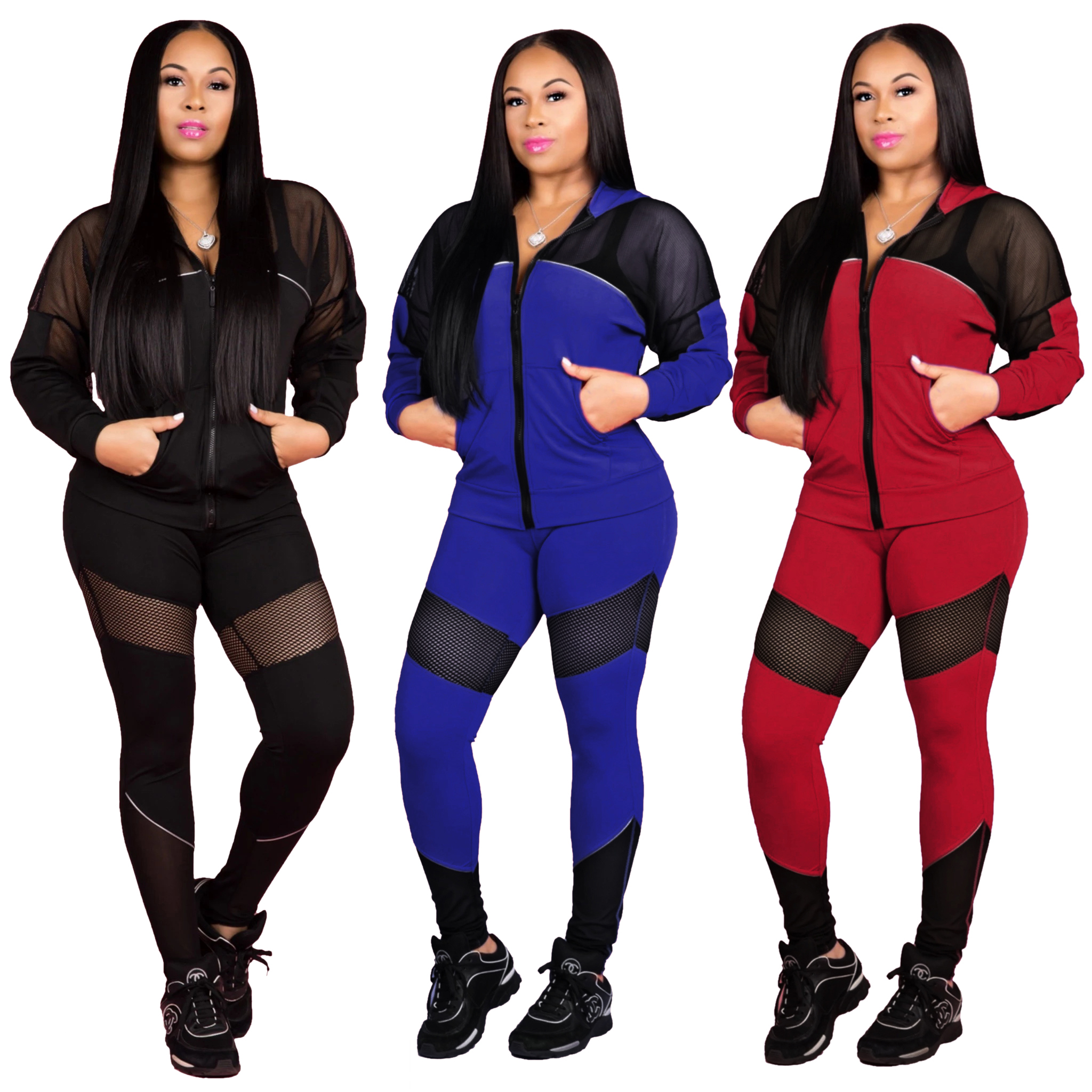 New design winter POLYESTER tracksuit women 2 piece tracksuit set