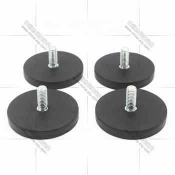 pot magnet rubber coated magnetic holder for car roof horn round black magnets with nut internal thread