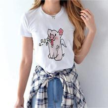 Мягкая одежда для девочек с рисунком поросенка, эстетическая одежда для аниме, летний женский белый топ хиппи, летний топ, уличная одежда, же...(China)