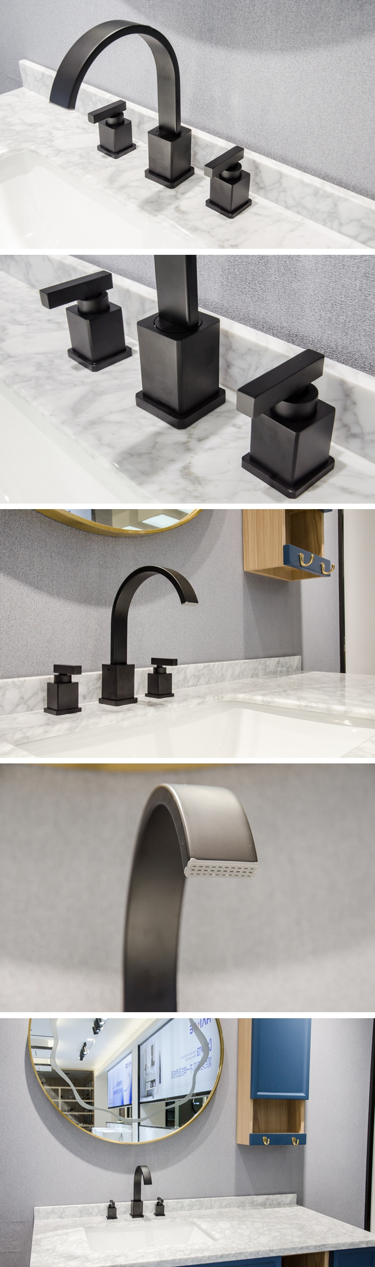 upc commercial hand sink 3-way faucet tap black bathroom