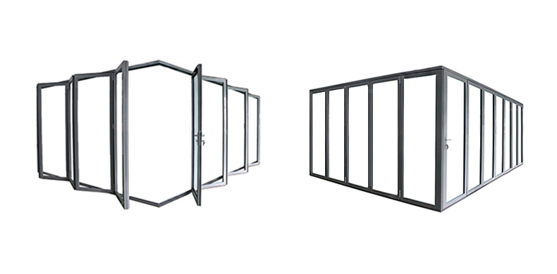 NFRC AS2047 standard China commercial big aluminum glass panel accordion folding door
