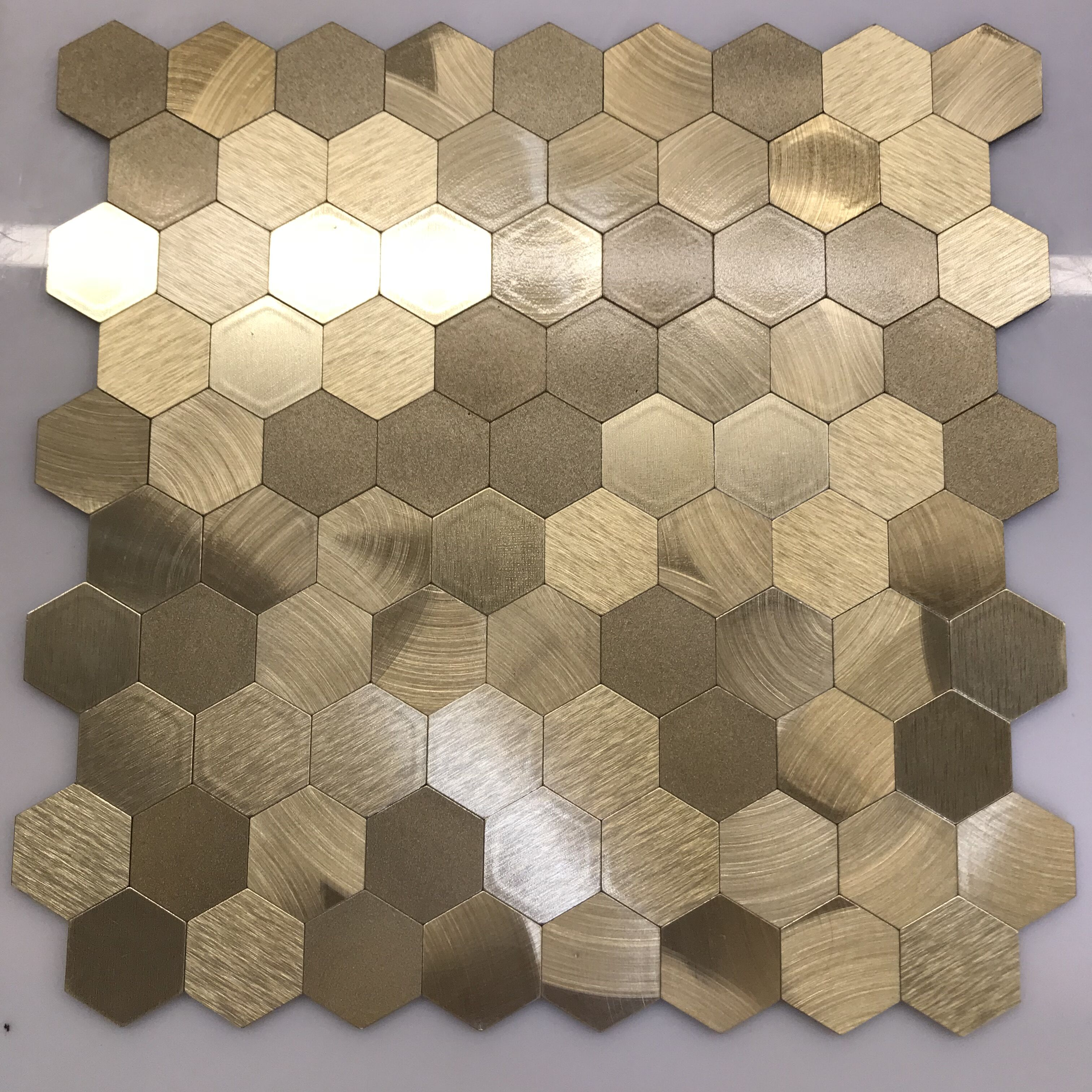 - Glitter Gold/rose/copper Peel And Stick Tiles Metal Mosaic Self