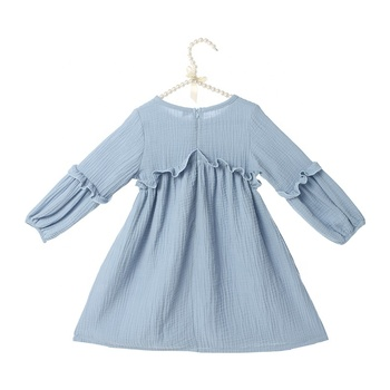 2019 Wholesale solid linen fabric baby dress children frocks designs girls kids dresses