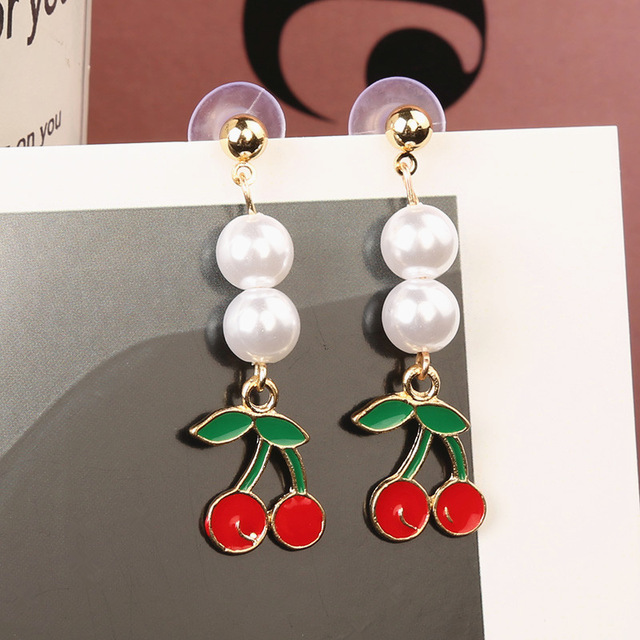 Korean personality sweet and simple wild pearl earrings fruit watermelon pineapple long tassel earrings