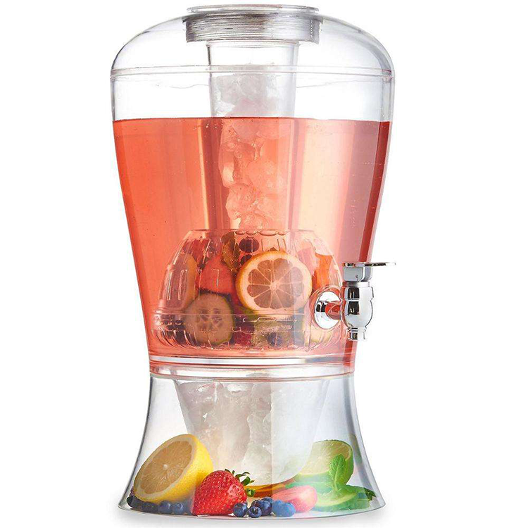 wholesale glass juice dispenser for sale Plastic water mouth with Ice bucket, clear glass beverage juice dispenser with tap@