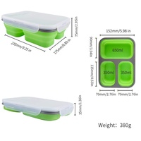 BPA Free Collapsible Lunchbox Airtight Expandable Silicone 3 Compartments Large Bento Box Kit Safe in Microwave, Dishwasher