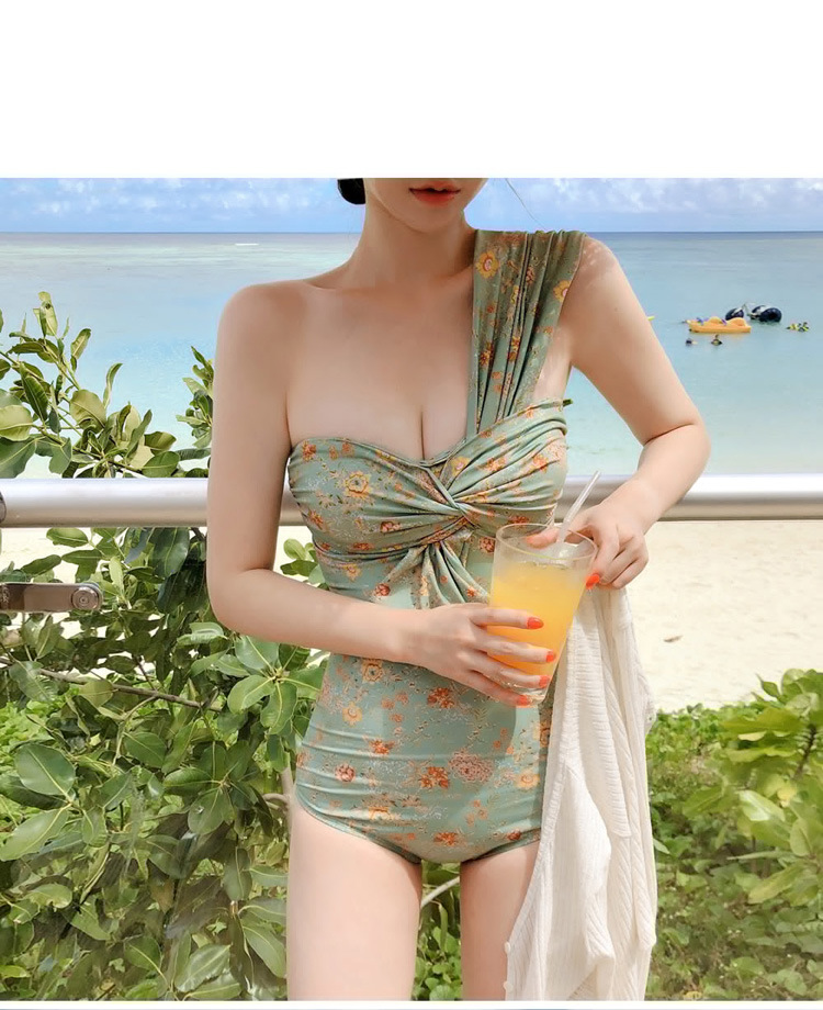One piece fashion lady swimwear high cut print one shoulder bikini swimsuit brazilian swimwear 2019