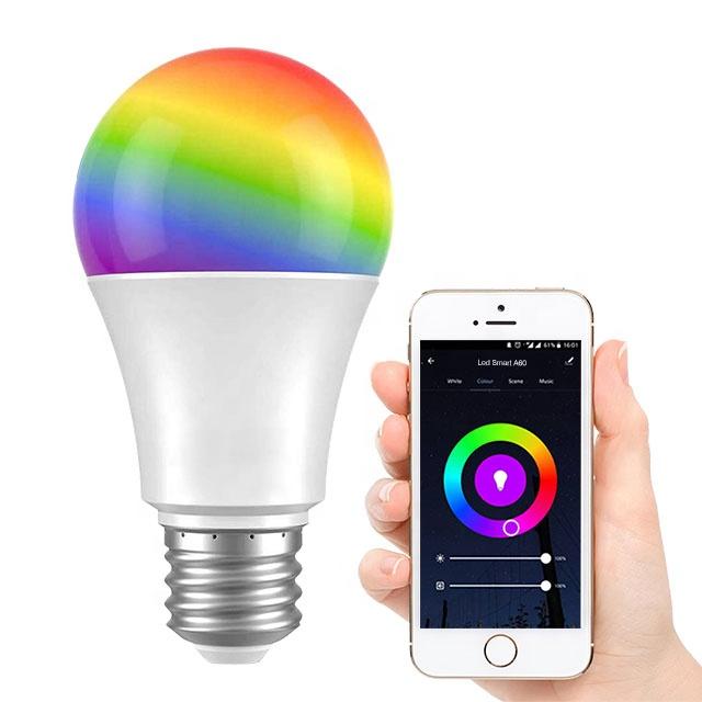 Tuya Google Home Alexa 10W 1100LM E26 E27 B22 Home Dimmable Wifi Smart LED Light Bulb A60 LED Smart Lamp