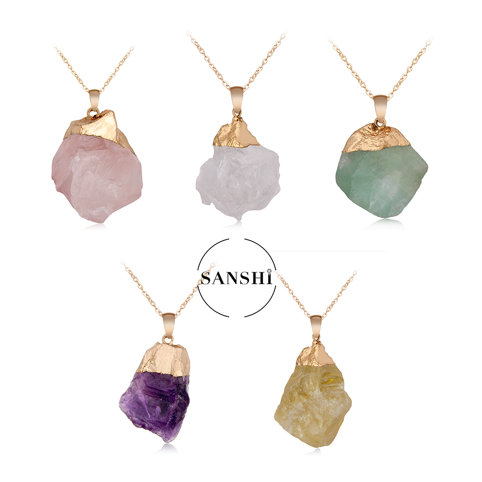 Factory Wholesale Gold Filled <strong>Amethyst</strong> Raw Gemstone Crystals Healing <strong>Natural</strong> Stone <strong>Pendant</strong>