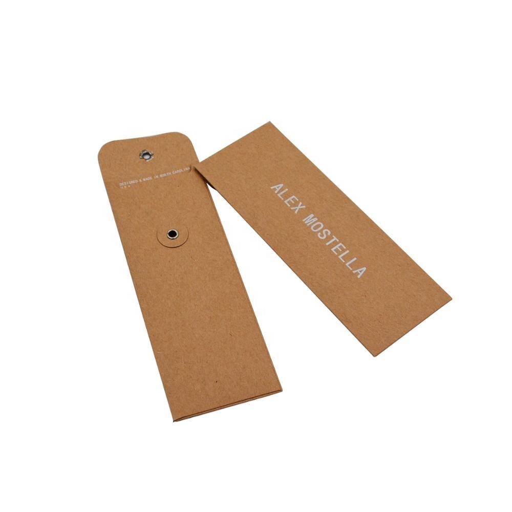 Logotipo personalizado botão encerramento string envelopes de embalagem envelope de papel kraft reciclado