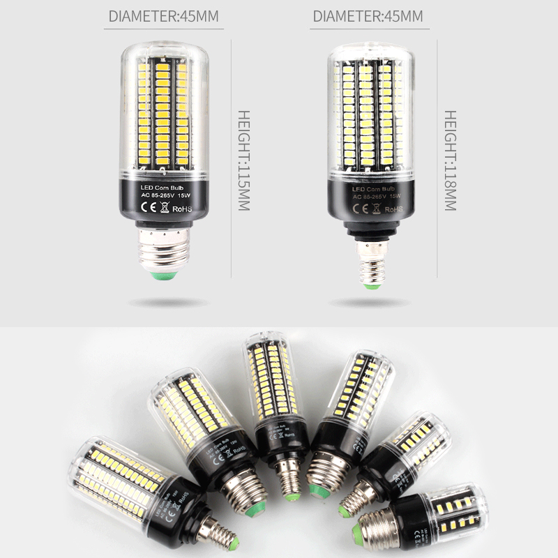 220V  Led Lamp Bulb E27 Led Candle Light Bulb E14 Corn Lamp G9 Led 3.5W 5W 7W 9W 12W 15W Chandelier Lighting 240V