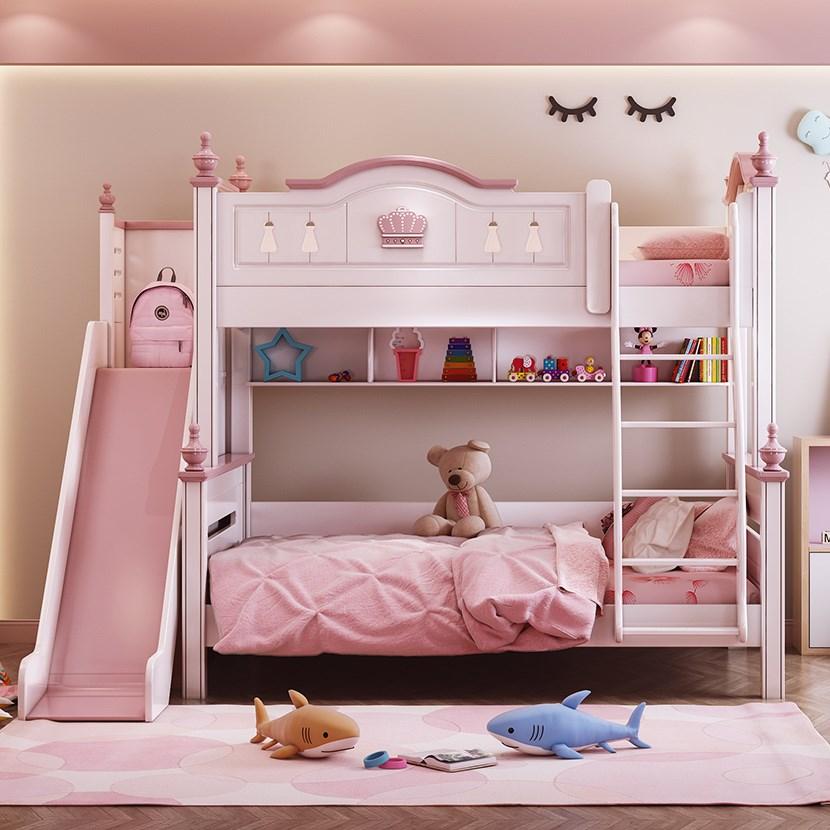 سرير أطفال الوردي الحديثة سرير الاميرة الأطفال أسرة طابقية مزدوجة الفتيات نوم خزينة ملابس خشبية النمط الأمريكي عالية الجودة