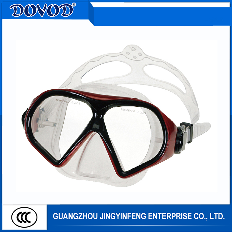 Professional Adult Silicone Tempered Glass Low Volume Free Diving Mask PVC Scuba Diving Mask