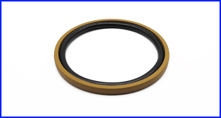 Yellow Color Bronze PTFE  SPGO Seals With Inclined Cut Grooves for Excavator Hydraulic Cylinder