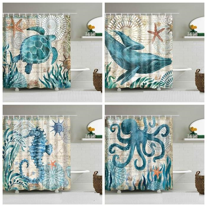 3D custom printed blue Sea turtle Octopus and Crab patterns beach shower curtain