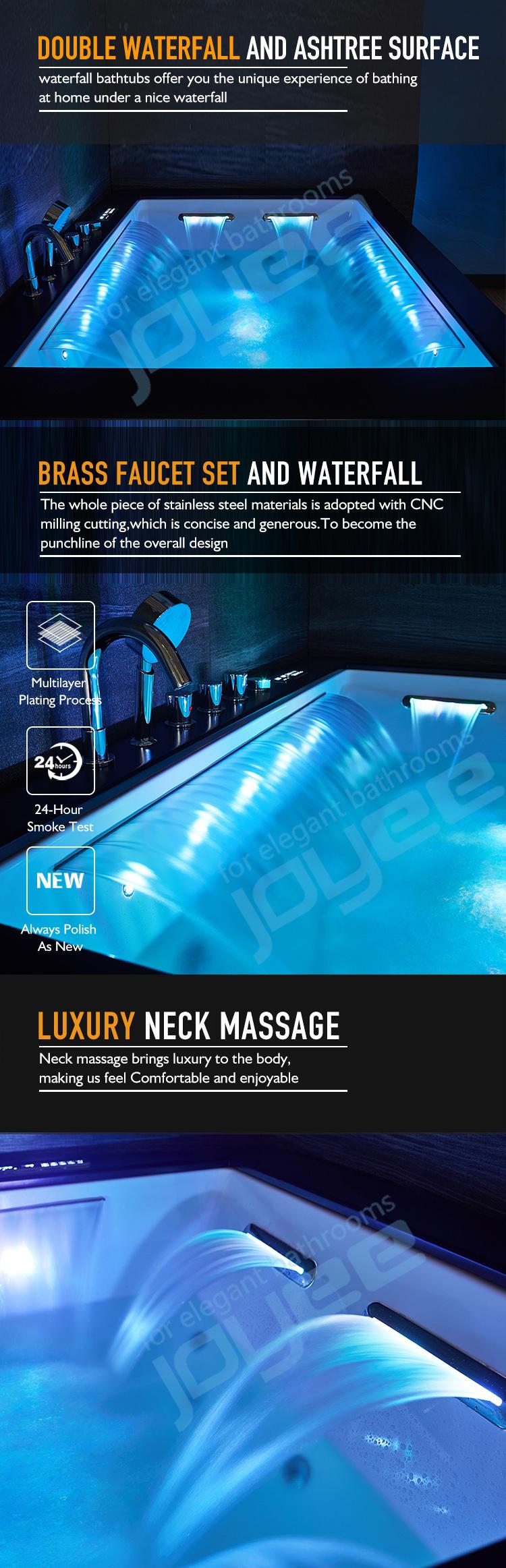 JOYEE Chine Fournisseur pas cher prix massage acrylique autoportante baignoire Spa 2 face jupe baignoire pour couple bain