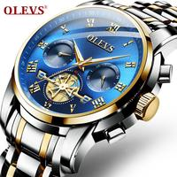 OLEVS 2859 Business Chronograph Watches Mens Full Stainless Steel Quartz Watch For Men Wrist Watch Fashion Luminous Man Clock