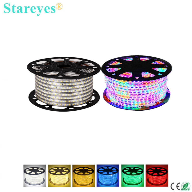 Free shipping 100 Rolls SMD 5050 8mm PCB 60LED/M 100 Meters AC220V Led Strip IP67 Waterproof Flexible Led tape RGB Light Ribbon