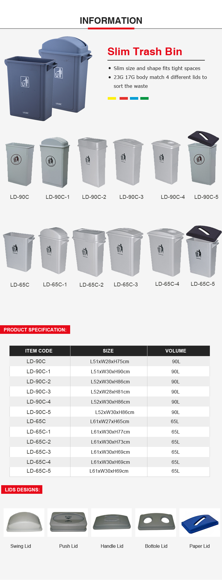 Hot sale new design 90 liter plastic swing lid dustbin