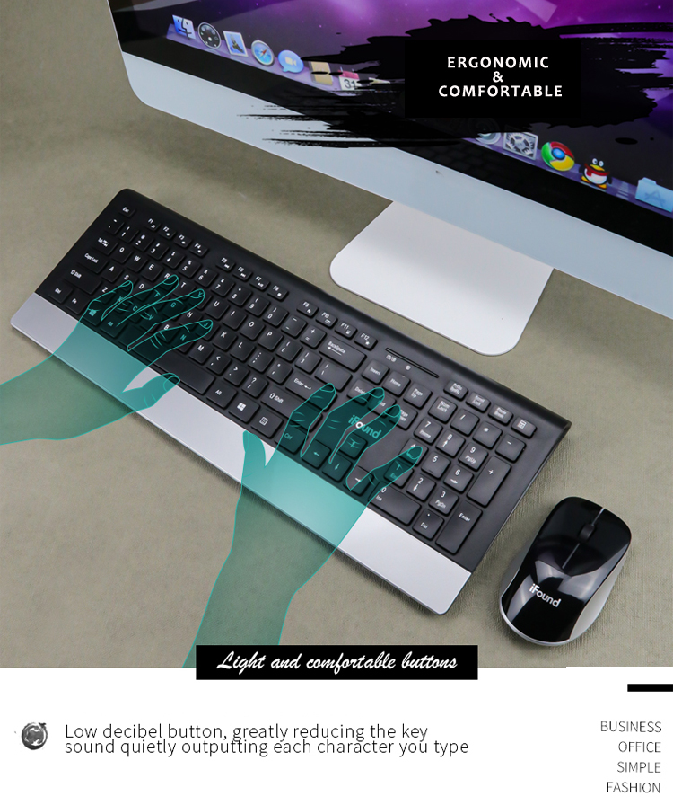 OEM Custom Chocolate Keyboard 2.4Ghz Wireless Keyboard and Mouse Combo