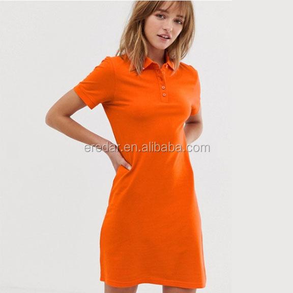 New Arrival Polo Jersey Dress Women Plus Size Orange T-shirt Dress - Buy T-shirt Dress,Women Polo Dress,Plus Size T Shirt Dress Product on Alibaba.com