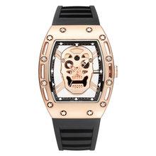 Швейцарские часы мужские роскошные брендовые Модные полые мужские часы винный бочонок часы силиконовые Япония Miyota кварц rolexable золотой(Китай)