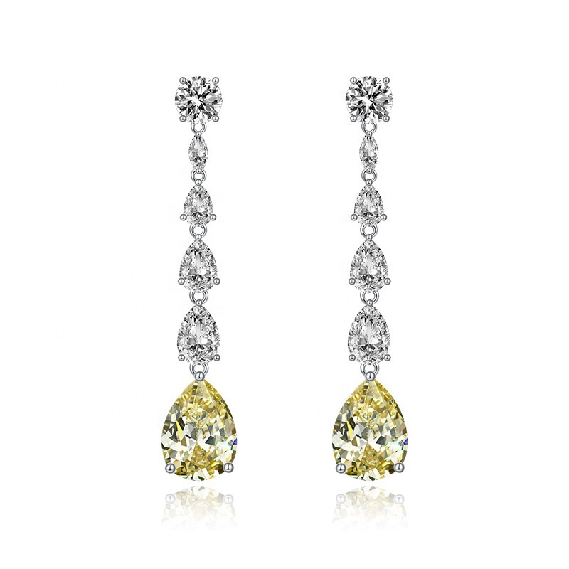 Fashion 925 <strong>Sterling</strong> <strong>Silver</strong> Rhodium Jewelry White Yellow Pear <strong>Drop</strong> <strong>Earrings</strong> for Women