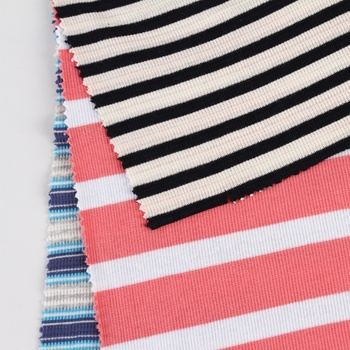 Color soft cotton spandex yarn dyed jersey 1x1 stripe knit rib fabric cotton for t shirt