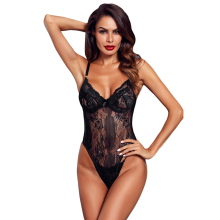 Großhandel Yummy Scalloped Spitze Teddy Dessous Sexy Hot Transparent Body Für Frauen