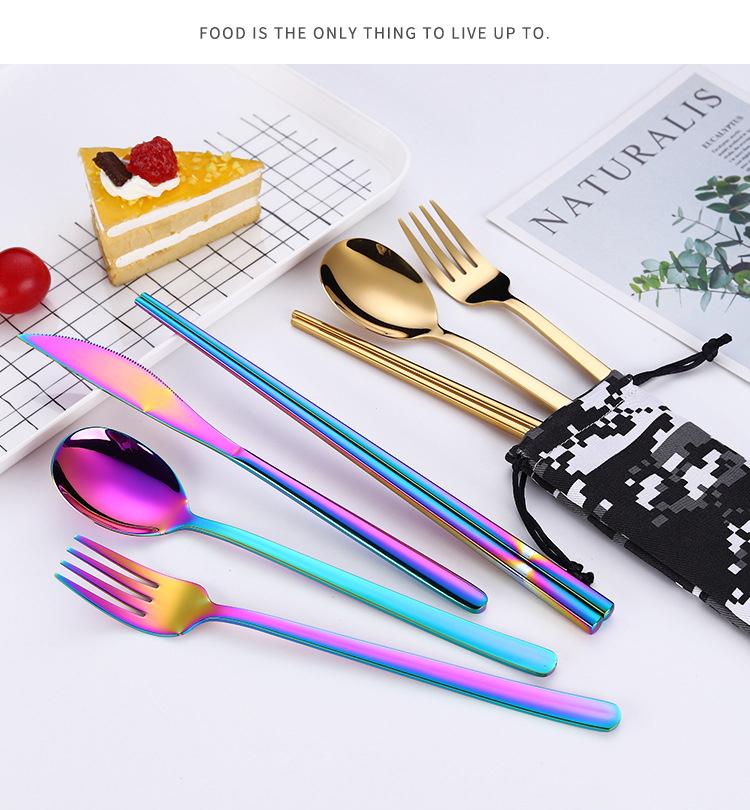 3 個ゴールドカトラリーステンレス鋼ナイフフォークスプーン食器セット Amazon トップ販売 2019 台所用品ポータブル迷彩バッグ