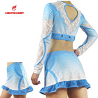 Sublimation Custom Top Sublimation Custom Mesh And Rhinestones Cheer Top And Skirt Light Blue New Fashion Cheer Uniforms