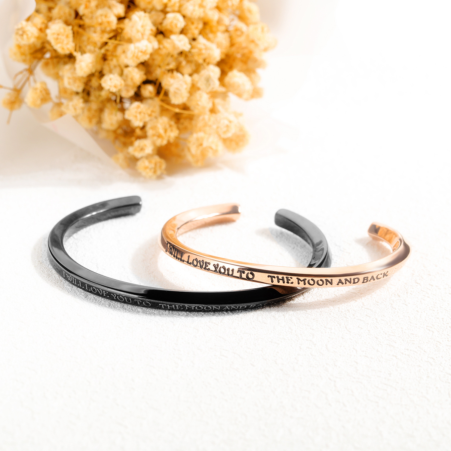 Fashion Design Stainless Steel Couple Bangle Colorful Custom Lettering 'C' Shaped Cuff Bangles For Couple
