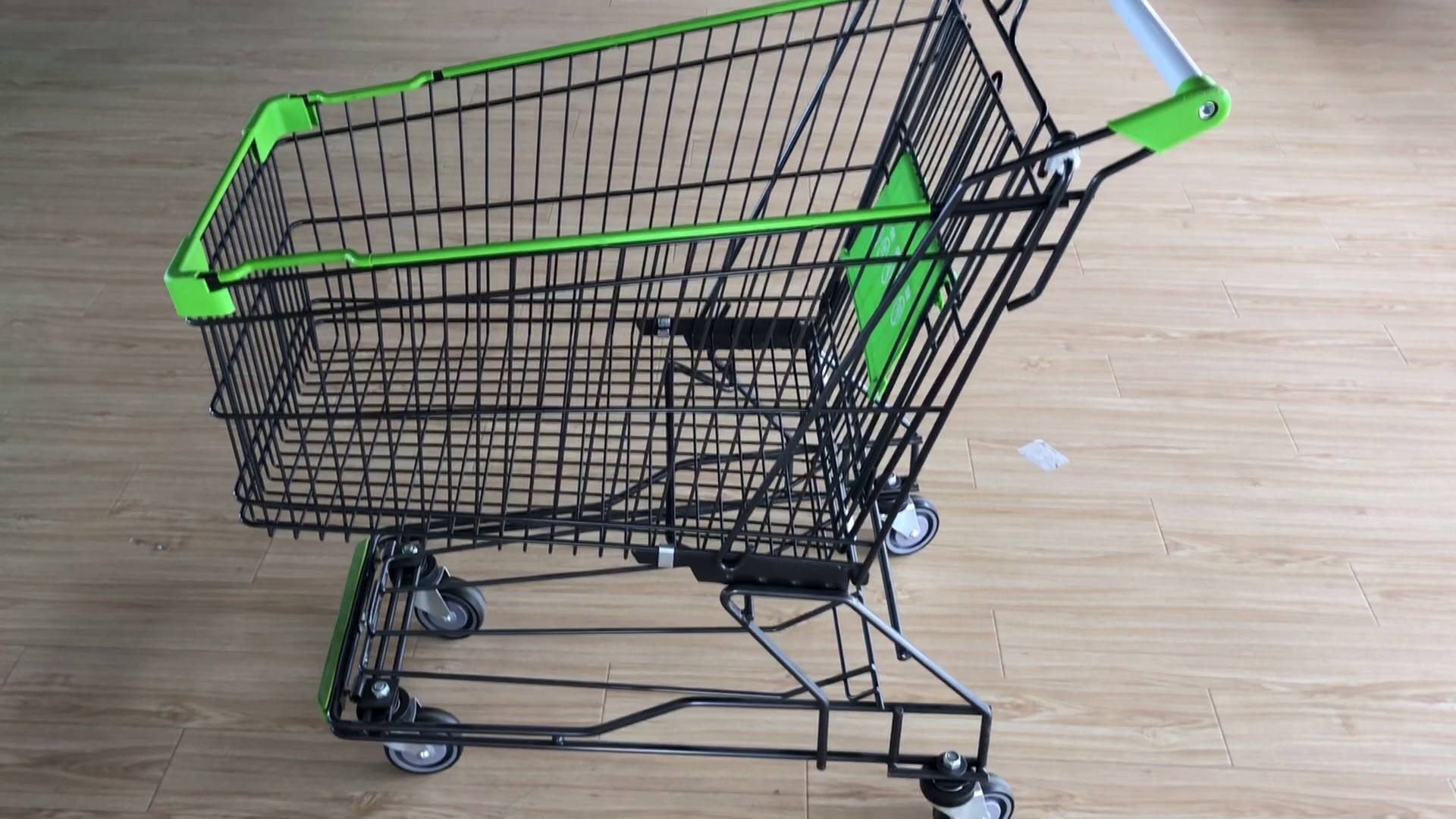 100L Asian Style Zinc Plated Wire Metal Shopping Trolley Cart