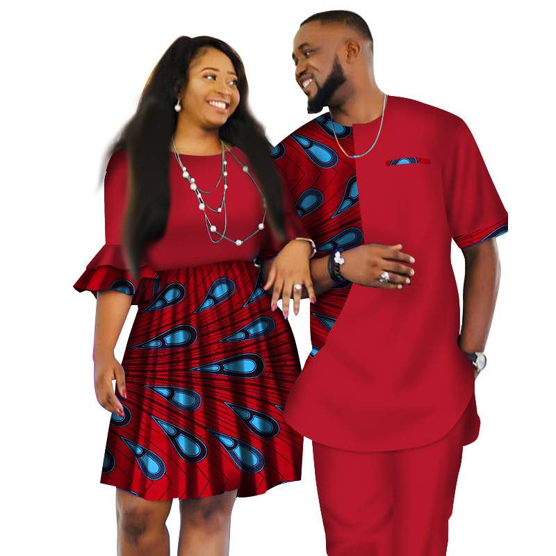 XM-20801091 Latest african wax fabric Fashion Designs Women Skirts and Men Suits Short Sledeve for Couple Apparel