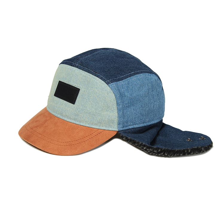 Custom Made Plain 5 Panel Earflap Hut Kappe mit leder patch
