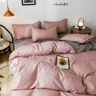 Wholesale bedding large home textile sets bedding Plaid polyester bedding