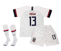 Udefending Morgan 13 Alex Home Soccer shirt Jersey for Youth & Kids with Shorts & Socks Set White and red shirt