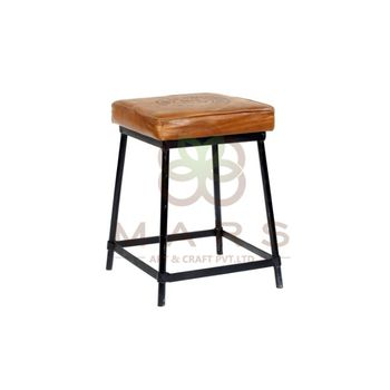 Industrial Vintage Tan Color Leather Seat Iron Leg Base Black Powder Coated Stool