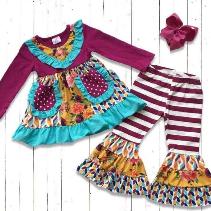 CONICE NINI Wholesale baby clothes ruffle pants edge girls boutique outfits sets
