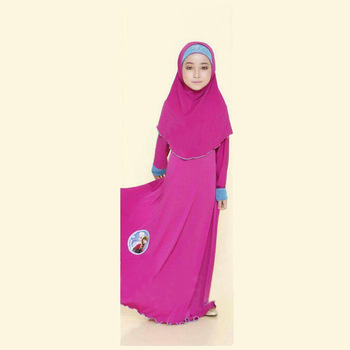EGMS107 fashion muslim casual beautiful muslim girl two piece flower headscarf in solid colors with dress