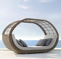 All weather Wicker Rattan Curve O daybed with canopy - Poly Rattan Sunbed With Canopy