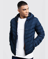 Chinese wholesaler new design men winter padded black heated parka jacket,Men Navy Blue Quilted Zipper Through Jacket With Hood