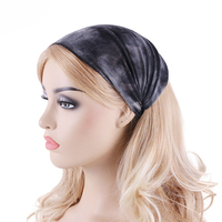 2020 printed fade color cotton sweat absorb sports headband yoga wide hairband popular headwear wrap