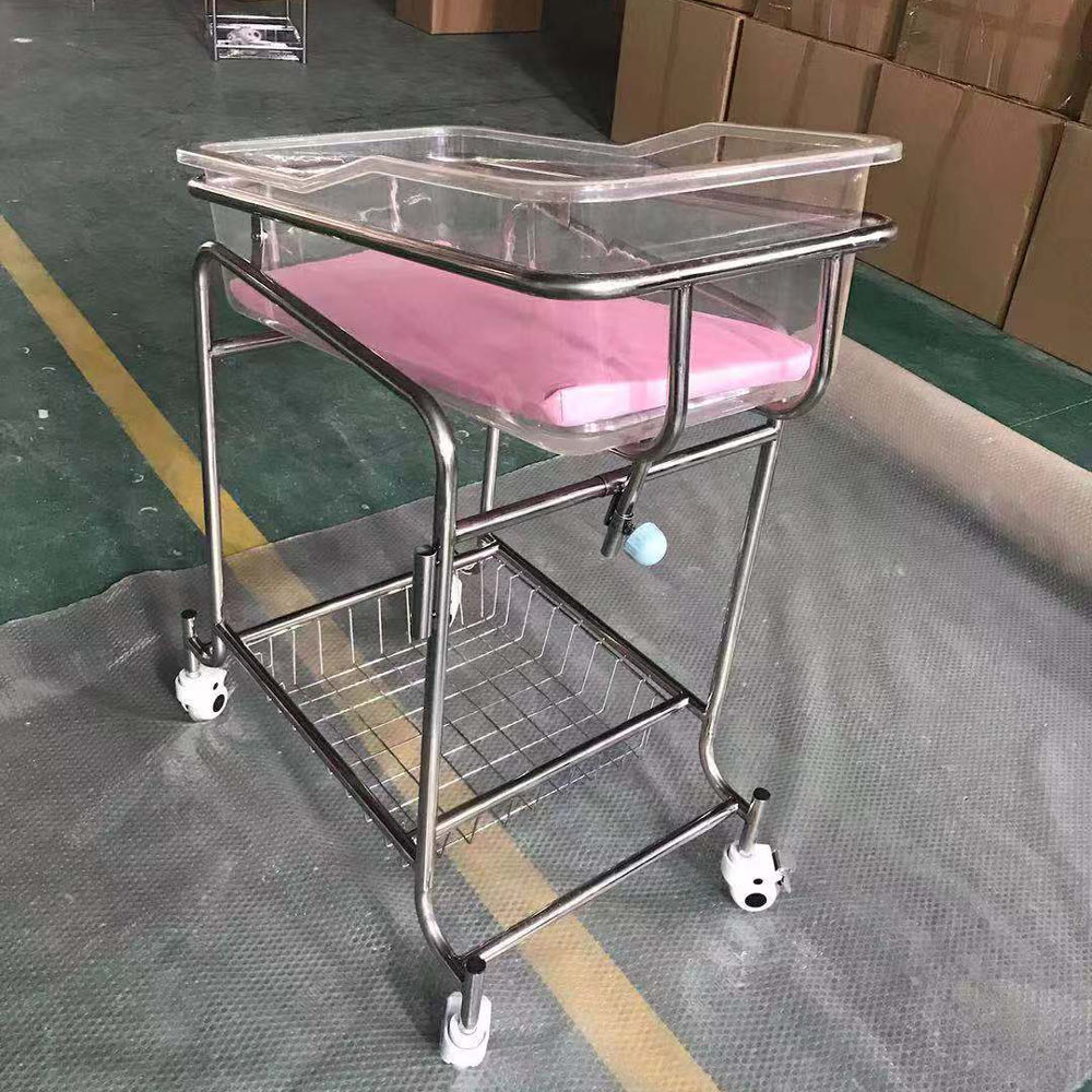 Stainless steel hospital baby trolley with Acrylic tray